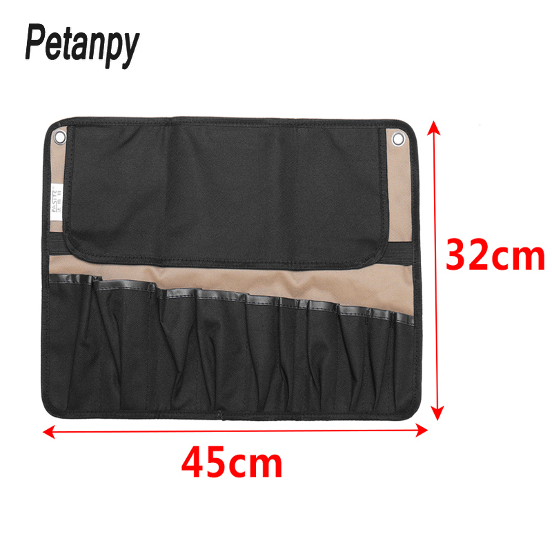 Fashion Coffee Portable Chef Knife Bag Roll Bag Carry Case Bag Kitchen Cooking Tool Portable Storage Bag 10 Pockets Home Garden