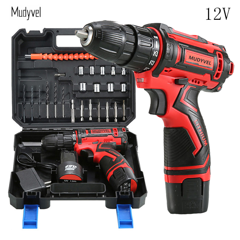 12V Cordless Rotary Tool Electric Drill Rechargeable Battery Power Tools 3/8-Inch 2 speed Professional Mini Screwdriver