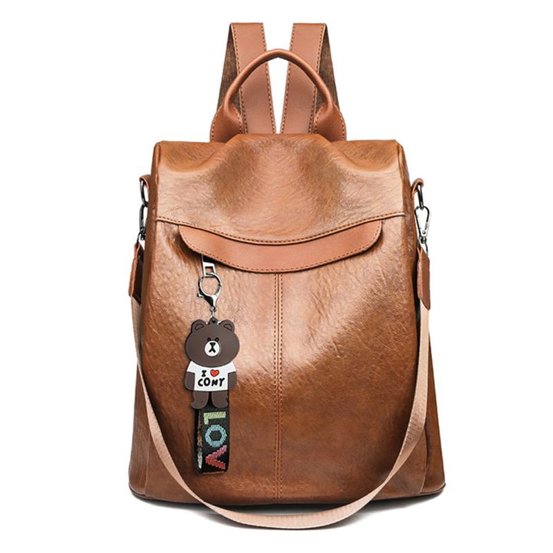 2020 New Anti Theft Women Backpacks Multifunction Female PU Leather Backpack for Teenage Girls School Bag Sac a Dos mochila