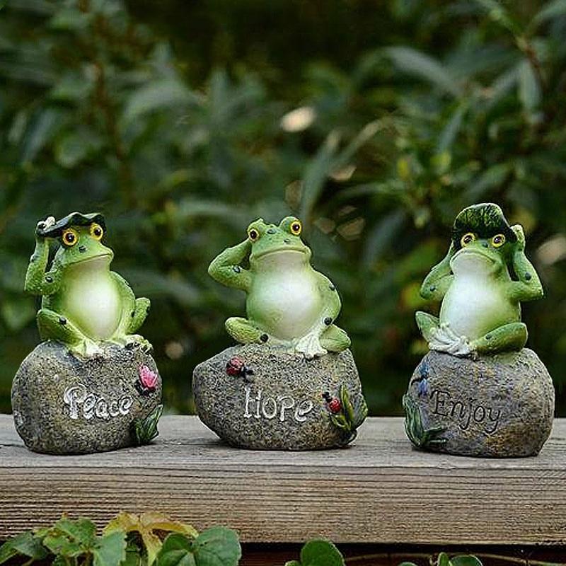 1PCS Outdoor Garden Rana Cute Decorazione Lettera Modello di Casa In Miniatura In Resina Animale Fatto A Mano di Arte Ornamento