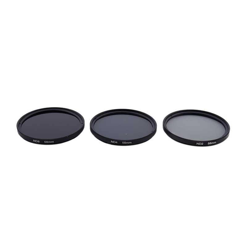 3 個 58 ミリメートルニュートラル密度 ND2 ND4 ND8 ND 2 + 4 + 8 フィルターセット 58 ミリメートルキット + 黒布バッグ