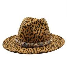 Леопардовая фетровая шляпа зимняя Осенняя Панама с принтом Дерби