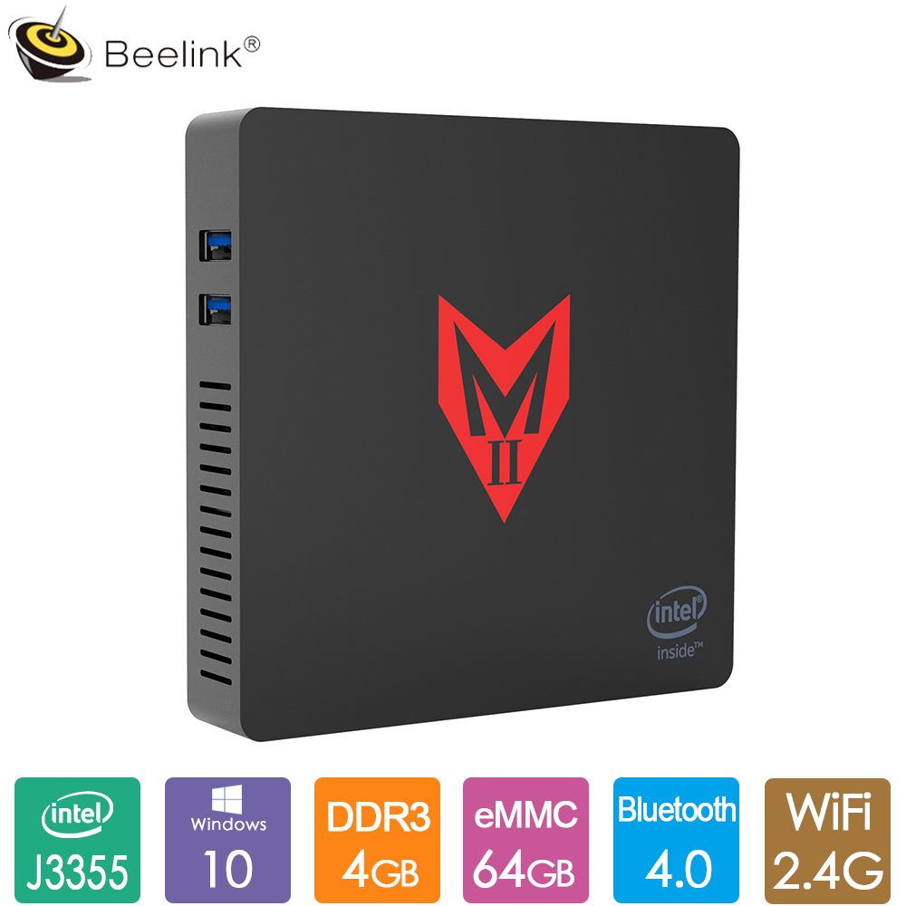 Beelink MII V мини компьютер Intel Apollo Lake J3355 Win 10 4 Гб LPDDR4 64 Гб 2,4 г 5 г двойной WiFi BT4.0 1000 м LAN медиаплеер