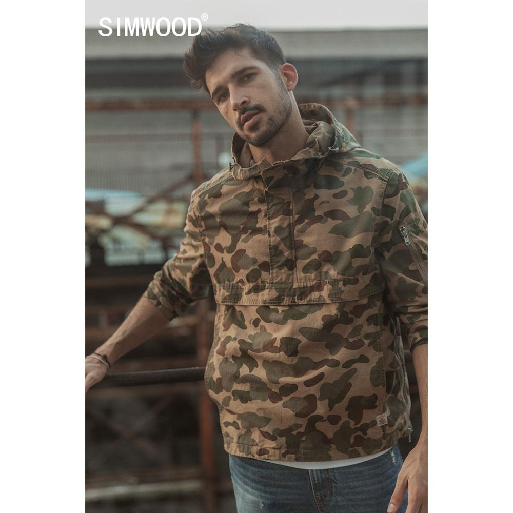 SIMWOOD 2020 Spring Winter New Camouflage Half Zip Pullover Jacket Men Hooded Streetwear Cotton Hip Hop Military Coats 190394