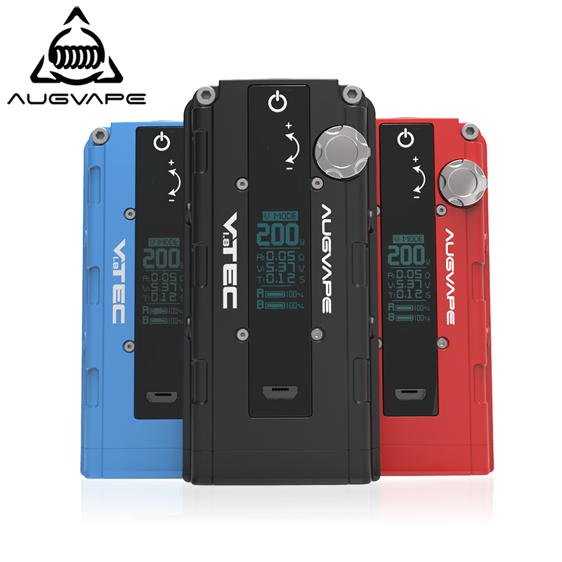 Augvape VTEC1.8 200w Electronic Cigarette Mod Auto Bypass V Mode OLED Display 510 Connector Mod Box New Version Vape Box Mod