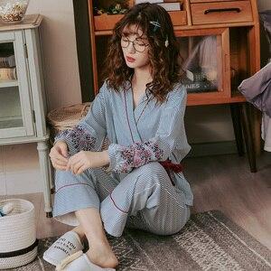 Image 2 - Conjuntos de pijamas femininos listrados, pijamas japoneses estampadas plus size 3xl 100% algodão