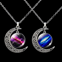 Outer Space Crescent Moon Necklace Nebula Galaxy Planet Glass Cabochon Pendant Astronomy Jewelry fashion solar system moon earth mars planet necklace antique silver crescent moon pendant chain necklace outer space jewelry