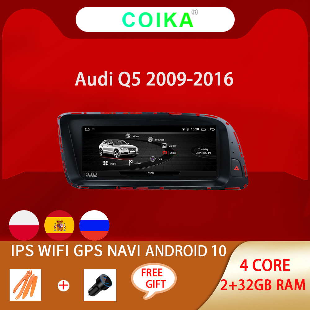 Автомобильная система COIKA, 8,8 дюйма, Android 10,0, IPS экран, радио для Audi Q5 2009-2017, GPS Navi Google WIFI Carpaly SWC 2 + 32 Гб ОЗУ, Mirrorlink