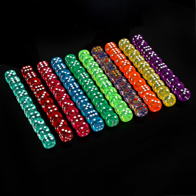 11 PCS/Lot Dice Set 11 Colors High Quality Transparent Acrylic 6 Sided Dice For Club/Party/Family Games 16mm Dice