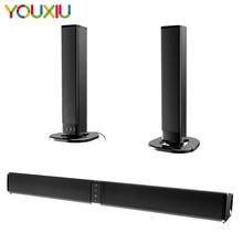 20 Вт ТВ звуковая панель с двумя молниями Bluetooth Динамик с микрофоном Встроенная сабвуфер домашние Театр 4,0 канал 3D объемный звук колонки для П...