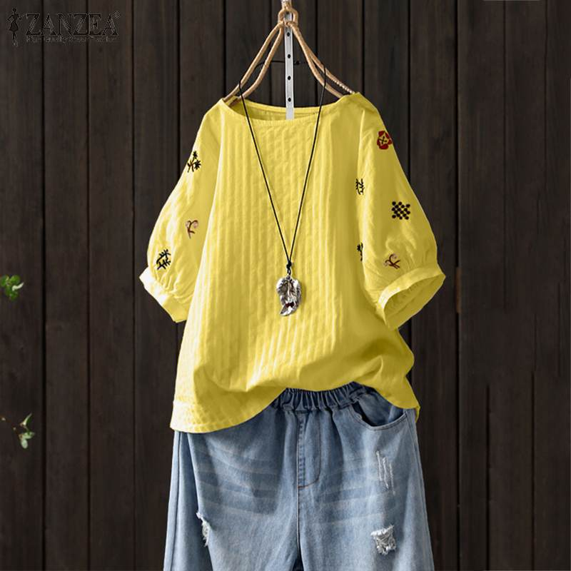 2020 Plus Size ZANZEA Summer Floral Blouse Women Casual Short Sleeve Cotton Tunic Tops Embroidery Party Shirts Female Blusas