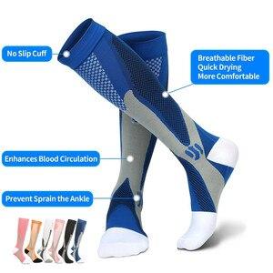 Image 1 - Running Compression Socks Stockings 20 30 mmhg Men Women Sports Socks for Marathon Cycling Football Varicose Veins