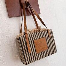 Straw Weave Handbags Women Bohemia Striped Pu Leather Splice Tote Bags Lady Big Capacity Shoulder Bags Luxury Beach Bamboo Bag