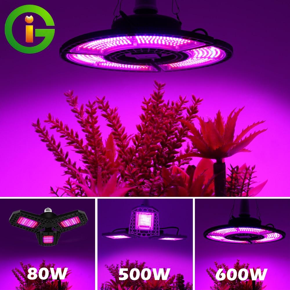 LED Grow Light AC86-265V E27 80W 500W 600W Full Spectrum Growth Light Indoor Phyto Lamp For Plants Flowers Grow Box