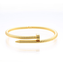 Simple Screw carved nail Open Bangle with Opening Jewelry Bangle for Women Girls Party fashion gift fine simple geometry open bangle tiny cuff bracelet jewelry bangle for women girls party fashion gift