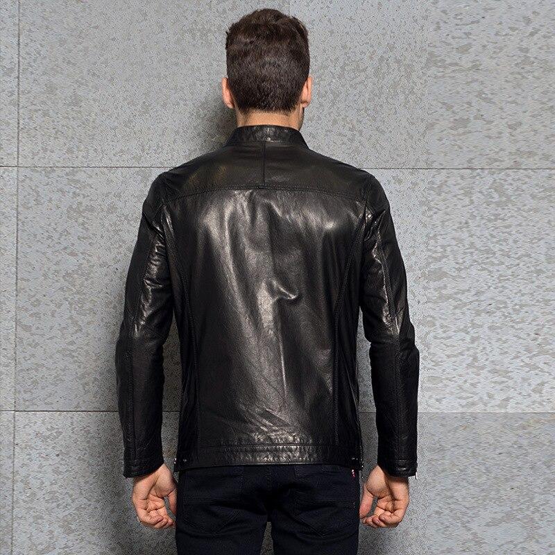Luxury Fashion Mens Slim Stand Collar Genuine Leather Jacket Outwear Brand Spring Zip Motorcycle Sheepskin Short Coat Plus Size