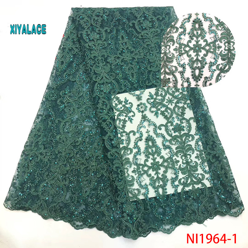 African Lace Fabric Luxury African Embroidery 3D Flower Handmade Beaded Stones Tulle Lace Fabric Nigerian For Wedding YANI1964-1