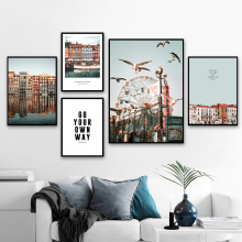 Wall Art Canvas Painting Ferris Wheel Bird Venice City Landscape Nordic Posters And Prints Pictures For Living Room Decor