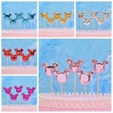 5pcs Cartoon Head Mickey Minnie Cake Topper Cupcake Flags Baby Shower Favors Boy Kids Birthday Party Wedding Decoration Supplies