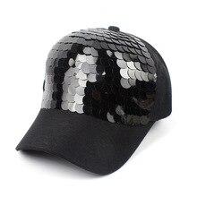 Casquette de Baseball noire à dos nu, chapeaux pour femmes, Gorras en coton à paillettes Hip Hop, pour hommes et femmes