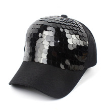 New Fashion black Snapback Baseball Cap cotton Gorras Caps Hats Woman Sequin Hip Hop Hats For Men Women