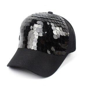 Image 1 - New Fashion black Snapback Baseball Cap cotton Gorras Caps Hats Woman Sequin Hip Hop Hats For Men Women