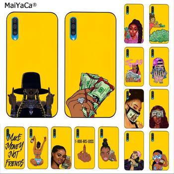 MaiYaCa Funny MONEY Cash Black Head Girl Fundas Candy Yellow Bling Phone Case for Samsung A10 20s 71 51 10 s 20 30 40 50 70 A30s image