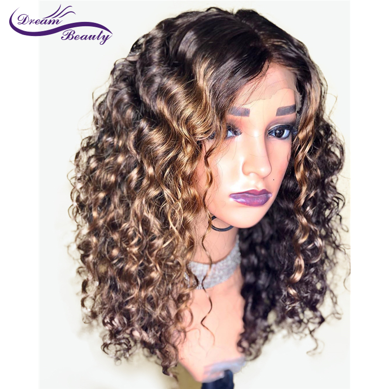 Dream Beauty Brazilian Kinky Curly 13X6 Lace Front Human Hair Wigs PrePlucked Remy Ombre Color Glueless Wig