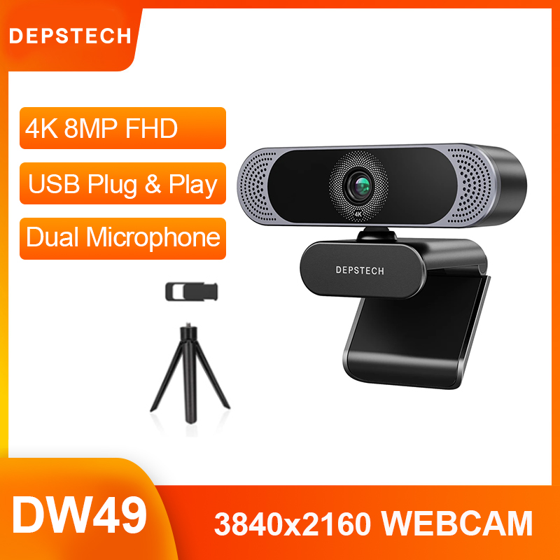 Plug and Play 4K 8MP / 1080P 2MP HD Webcam USB Web Camera with Microphone Privacy Cover Tripod for Live Broadcast Video Blog