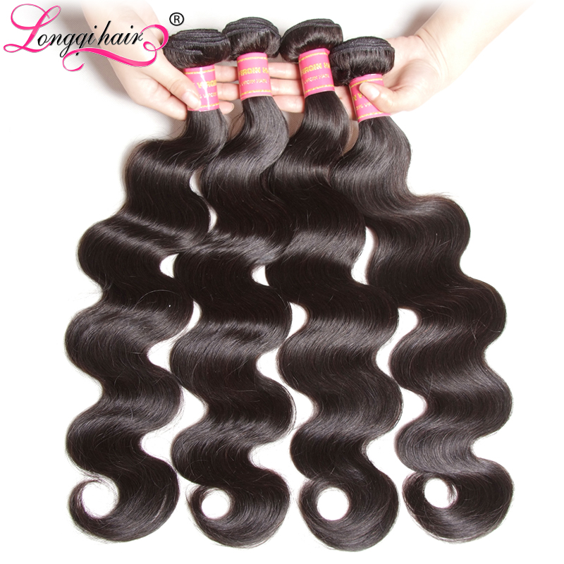 Longqi Hair Malaysian Body Wave Bundles Remy Human Hair Extension Natural Color Malaysian Hair Bundles 1 3 4 Bundles 8 - 30 Inch