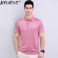 AYUNSUE 2020 New Polo Shirt Men 100% Silk Summer Clothes Lapel Business Ice Silk shirts Short Sleeve Shirt Solid Color 220