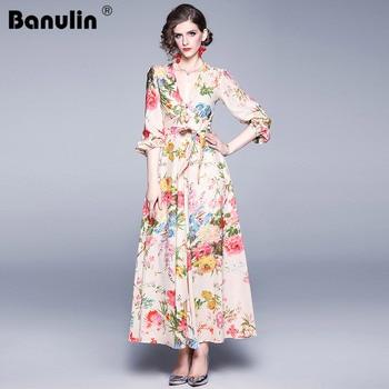 цена на Banulin 2019 Autumn Sexy Deep V Neck Floral Print Women Long Dress Runway Lantern Sleeve Female Party Beach Maxi Dresses