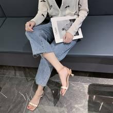 Женские сандалии с пряжкой на ремешке среднем каблуке открытым