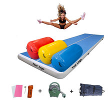 4 Piece Set Sports Fitness Inflatable Airtrack Matte Gymnastics Tumbling Air Track Yoga Mat Roller For Home Outdoor Training(China)