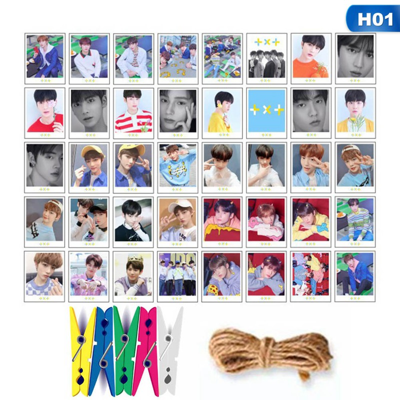 40Pcs/Set TXT BLACKPINK Photo LOMO Cards Fans Collective DIY Photocards With 5Pcs Clips And 1.2M Rope