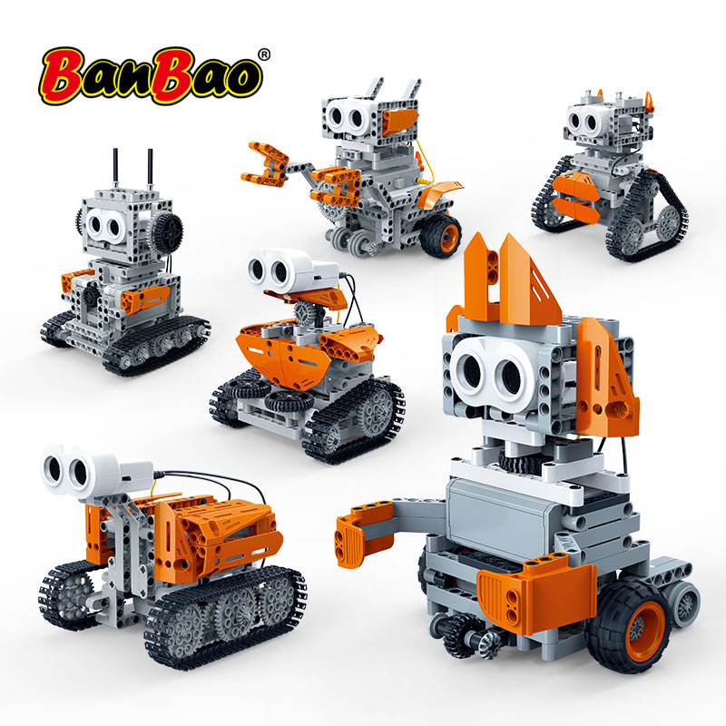 BanBao 6 In 1 Robot Ultrasonic Control Obstacle Avoidance Bricks Educational Model Building Blocks For Children Kids Toy 6917