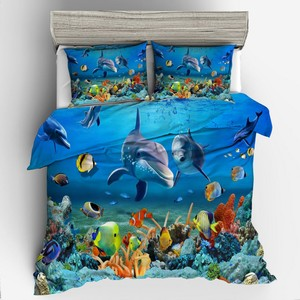 3D Design Digital Printing Bedding Set Duvet Cover Pillowcase Bedclothes Dropshipping Boy Gife Dolphin Shark