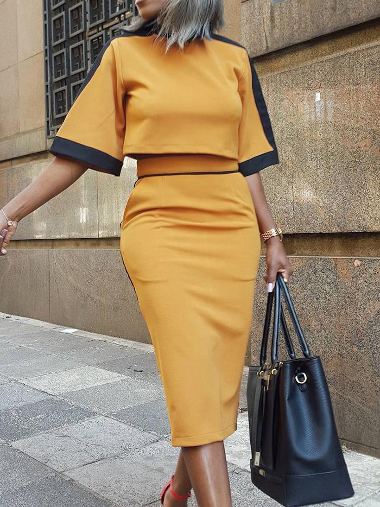 2020 Autumn Women Elegant Fashion Casual Party Suit Sets Female Two-Pieces Colorblock Short Sleeve Crop Top & Slinky Skirt Sets