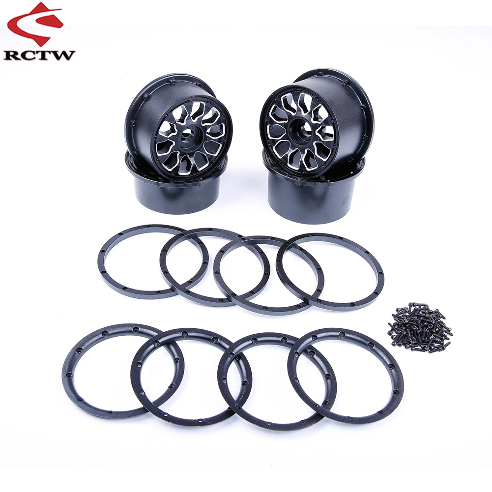 Metal Wheel Hubs with Beadlocks Ring Set for 1/5 Hpi Rofun Rovan Km Mcd Baja 5B SS 5T Truck Rc Car Toys Parts