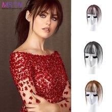 MSTN-flequillo de aire sintético para mujer, negro, marrón, 3D, pelo de alta temperatura, Invisible, sin costuras, Clip en extensiones de cabello