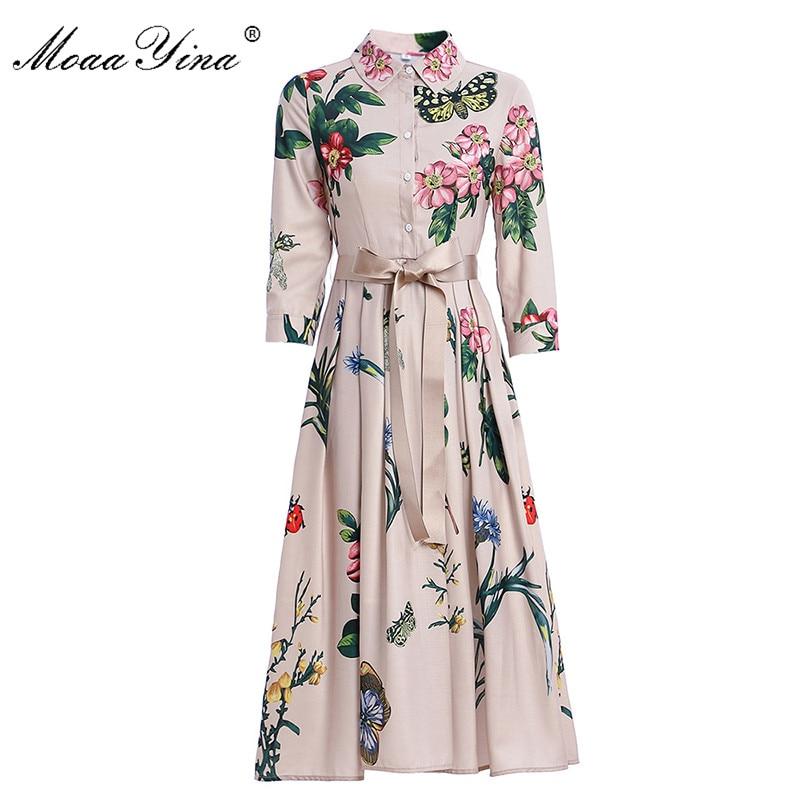 MoaaYina Fashion Runway dress Spring Summer Women's Dress Floral-Print Elegant  Lace up Dresses
