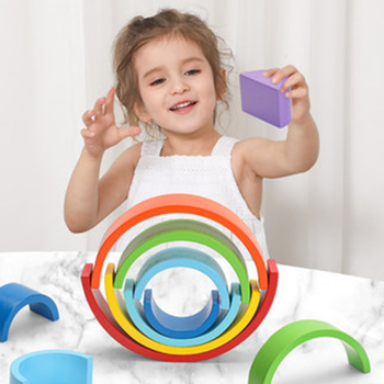 let's make Rainbow Blocks Baby Wooden Toy Montessori Rainbow Building DIY Creative Stacking Balance Game For Children Kids Gift
