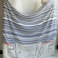 50cm*135cm Soft comfort bed sheet material silk cotton fabric blue striped math printed(China)