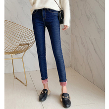 Women's Winter High Waist Jeans Women Thick Velvet Warm Jeans Black Mom Jeans Lined With Cashmere Skinny Stretch Cowboy Trousers velvet stretching warm jeans woman skinny stretch denim trousers high waist jean pencil pants winter mom jeans cashmere wiccon