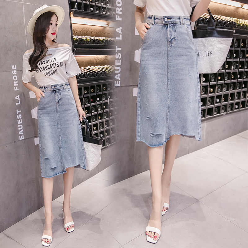 2019 Spring Clothing New Style Korean-style Irregular Broken Denim Skirt Skirt Medium-length Dress Women's
