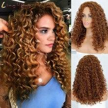LINGHANG – perruque Afro synthétique courte pour femmes noires, cheveux crépus bouclés, ombré, blond naturel, noir, 16 pouces