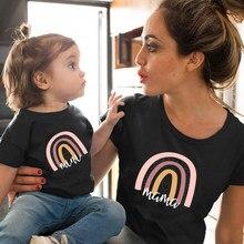 Camiseta a juego con estampado de Arco Iris para madre e hija, camiseta de manga corta con apariencia familiar, ropa de madre e hija, 1 unidad