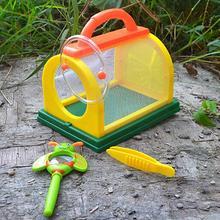 Детская клетка для насекомых с пинцетом Лупа на заднем дворе Разведочная игрушка Observatie эксперимент