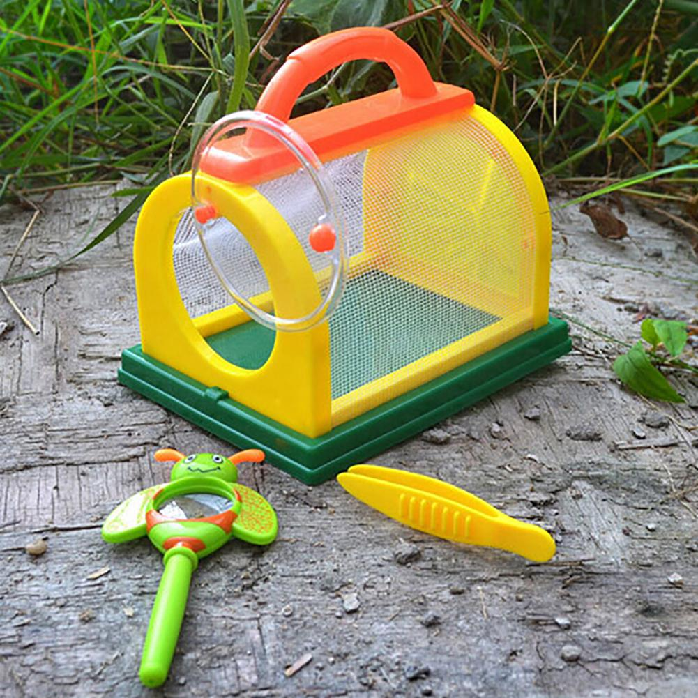Kids Insect Bug Cage With Tweezers Magnifier Backyard Exploration Critter Toy Observatie Experiment