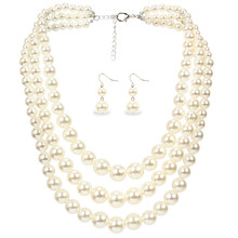 Temperament Imitation Pearl Statement Necklace Set Layered Long Atmosphere Chokers Necklaces For Women